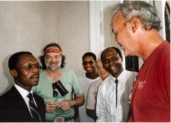Meeting with Jean-Bertrand Aristide at Haiti's Presidential Palace, four months after his inauguration as President. L to R: Aristide, Brian, unidentified aide, Dwight Willson (Brian's brother), Father Jean Juste, and ex-FBI agent Jack Ryan.